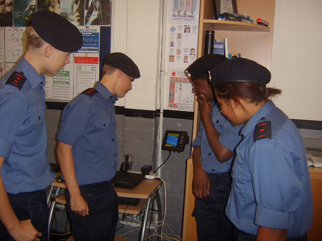 Sea Cadets using plotter indoors
