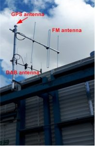 GPS, DAB and FM antennas on a roof