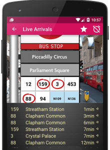 Screenshot of bus timetable app showing arrival times of the next 6 busses