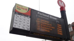 Real time information display at a bus stop